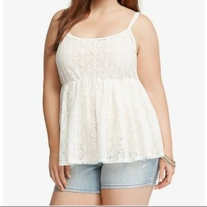 Torrid ivory Lace baby doll Cami top